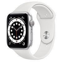 Как выглядит Apple Watch series 6 44 mm Silver Aluminum Case with White Sport Band