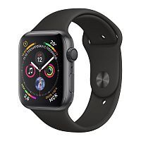 Apple Watch Series 4 GPS 44mm Space Gray Aluminum Case with Black Sport Band (MU6D2)