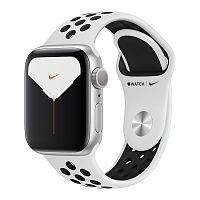 Apple Watch Series 5 Nike GPS 40mm Silver Aluminum Case with Pure Platinum/Black Nike Sport Band  (MX3R2)