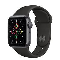 Как выглядит Apple Watch SE 40 mm Space Gray Aluminum Case with Black Sport Band