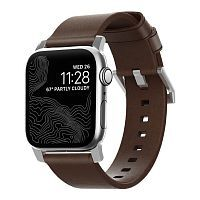 Как выглядит Ремешок Nomad Modern Strap Silver/Brown for Apple Watch 44mm/42mm (NM1A4RSM00)