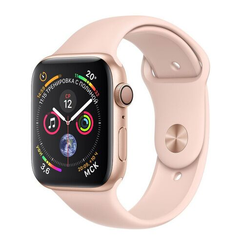 Как выглядит apple watch series 4 gps 44mm gold aluminum case with pink sand sport band (mu6f2)