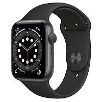 Как выглядит Apple Watch series 6 44 mm Space Gray Aluminum Case with Black Sport Band