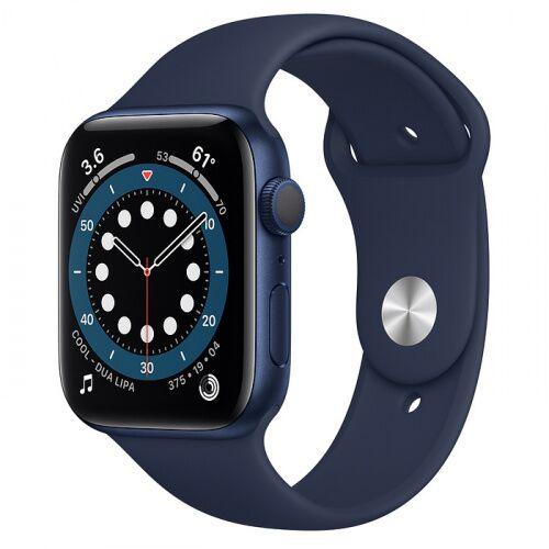 Как выглядит Apple Watch Series 6 44mm Blue Aluminum Case with Deep Navy Sport Band (M00J3)