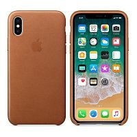 Как выглядит Чехол Apple Leather Case для iPhone X Saddle Brown (MQTA2)