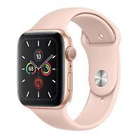 Apple Watch Series 5 GPS 44mm Gold Aluminum Case with Pink Sand Sport Band (MWVE2)