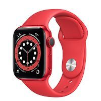 Как выглядит Apple Watch series 6 40 mm (PRODUCT)RED Aluminum Case with Black Sport Band