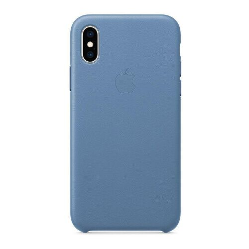 Как выглядит Чехол Apple Leather Case для iPhone XS Cornflower (MVFP2)