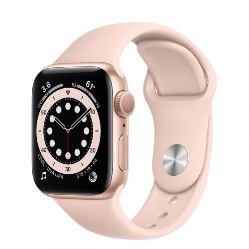 Как выглядит Apple Watch Series 6 40mm Gold Aluminum Case with Pink Sand Sport Band (MG123)