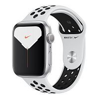 Как выглядит Apple Watch Series 5 Nike GPS 44mm Silver Aluminum Case with Pure Platinum/Black Nike Sport Band (MX3V2)