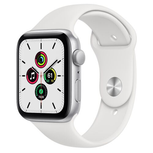 Как выглядит Apple Watch SE 44mm Silver Aluminum Case with White Sport Band (MYDQ2)
