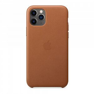 Чехол кожаный iPhone 11 Pro Max Leather Case Saddle Brown (MX0D2)