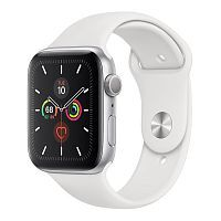 Как выглядит Apple Watch Series 5 GPS 44mm Silver Aluminum Case with White Sport Band (MWVD2)
