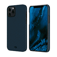 Как выглядит Чехол Pitaka MagEz Case Twill for 12 Pro Max Black/Blue (KI1208PM)