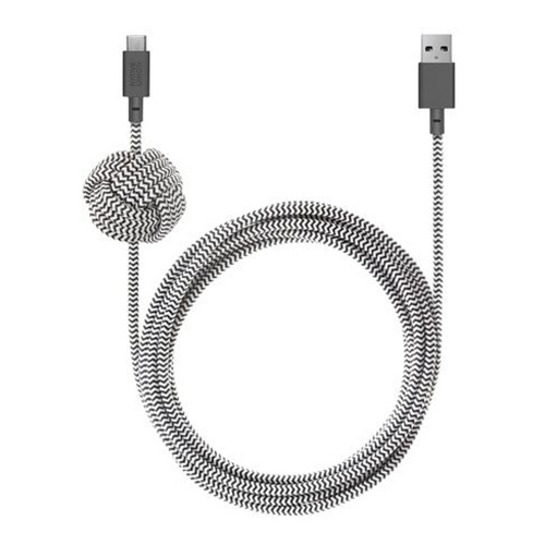 Как выглядит Кабель Native Union Night Cable USB-A to USB-C Zebra (3 m) (NCABLE-KV-AC-ZEB)